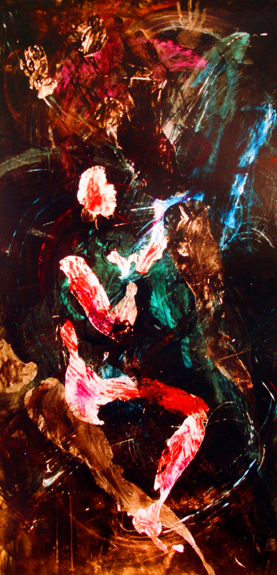 Traces, #1, from Body Print Series by Jane O'Shields-Hayner 1985 acrylic on paper size: 6' X 3.5 '